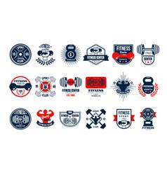 set original gym logo templates emblems vector image