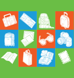silhouette vacation travel symbol holiday icons vector image