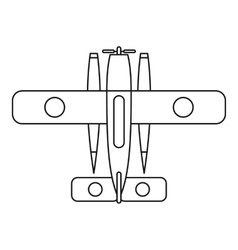 Ski equipped airplane icon outline style vector