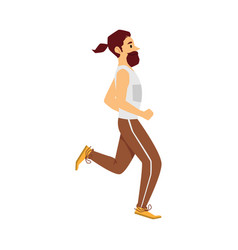 sprinter or runner man cartoon character flat vector image