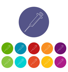 syringe icons set color vector image