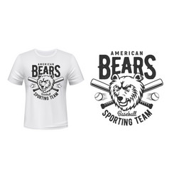 T-shirt print american bears baseball sport team vector