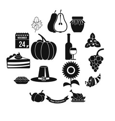 thanksgiving icons set simple style vector image