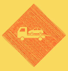 tow car evacuation sign red scribble icon vector image vector image