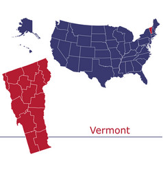Vermont map counties with usa map vector