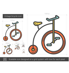 Vintage bicycle line icon vector
