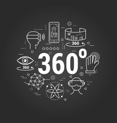virtual reality 360 - on black vector image