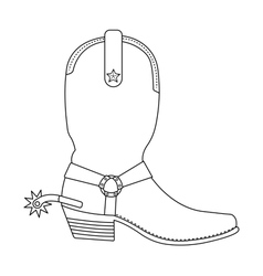 Wild west cowboy boot with spur Contour vector image