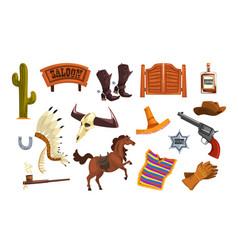 wild west elements set cowboys accessories vector image