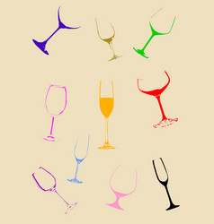 Wine glasses on background vector