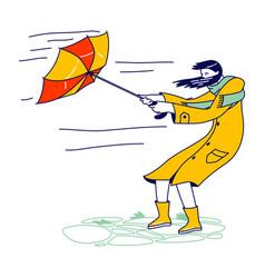 Woman in coat holding broken umbrella protecting vector
