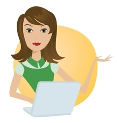 Working Woman with laptop office notebook computer vector