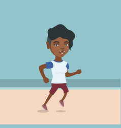 Young african-american woman jogging on the beach vector