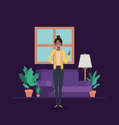 Young woman black on the livingroom vector