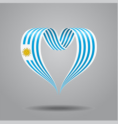uruguayan flag heart-shaped ribbon vector image vector image