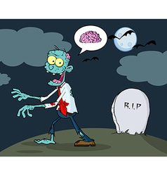 Blue Cartoon Zombie Walking With Hands In Night vector image