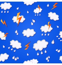 blue seamless pattern with clouds vector image