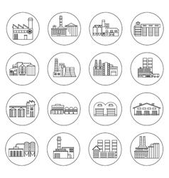 Building Factory Outline Icons vector image vector image