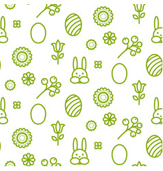 happy easter outline icon seamless pattern vector image vector image