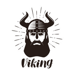 Viking logo or label portrait of bearded man in vector