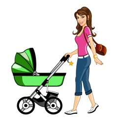 Beautiful Mother with Baby Cart vector image vector image