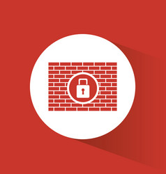cyber secuirty padlock firewall protection vector image vector image