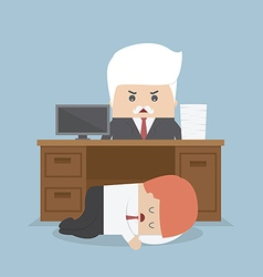 Employee sleeping under his desk and angry boss vector