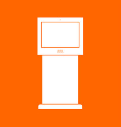 Terminal stand with touch screen white icon vector