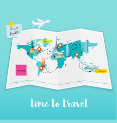 time to travel map and tourist equipment plan to vector image vector image