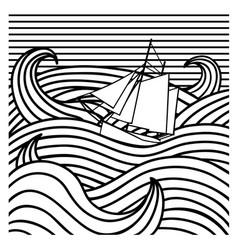 abstract ship at sea vector image