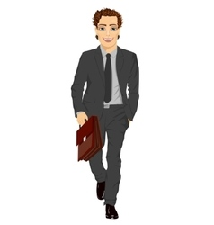 business man with briefcase walking forward vector image