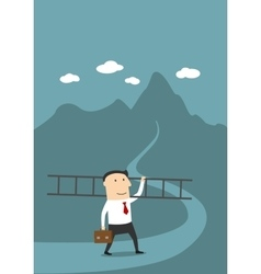 Businessman with ladder on the way to success vector