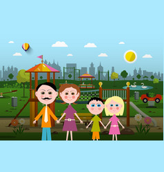 family with playground on background vector image