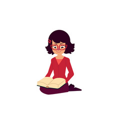 flat adult woman girl reading book vector image