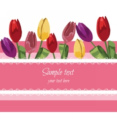 Greeting card with blooming tulip vector