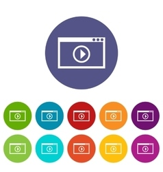 Program for video playback set icons vector image