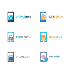 set of phone logo combination mobile and gadget vector image vector image