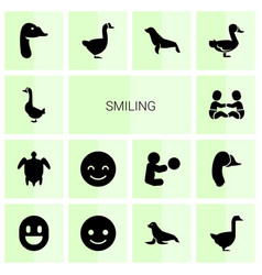 14 smiling icons vector