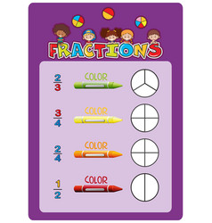 a math fractions worksheet vector image