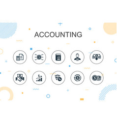 Accounting trendy infographic template thin line vector
