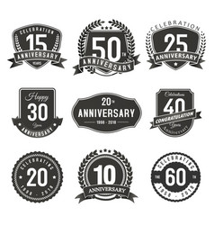 anniversary years seal and labels vector image