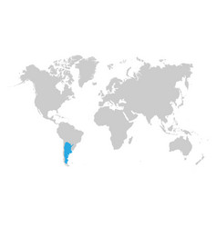 argentina is highlighted in blue on world map vector image