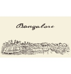 Bangalore skyline India drawn sketch vector image