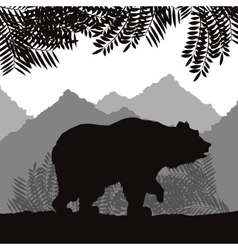 Bear icon Landscape background graphic vector