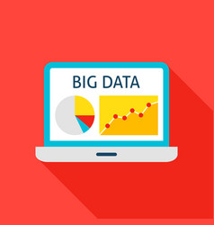 Big data laptop flat icon vector