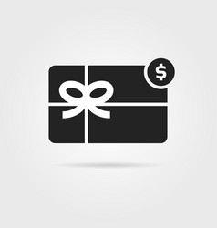 Black gift card icon with shadow vector