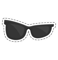 Black sunglasses accessorie travel cut line vector