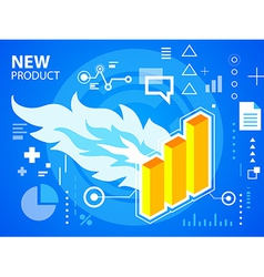 Bright fire and bar chart on blue background vector