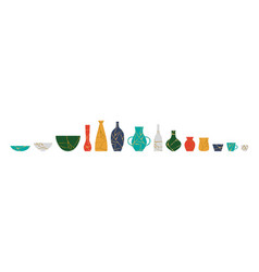 broken kintsugi pottery jar vase collection vector image