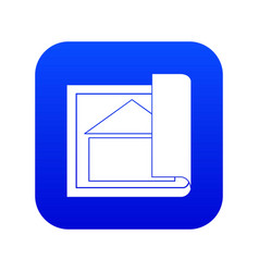 building plan icon digital blue vector image
